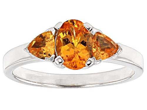 Photo of 1.39ctw Oval And Trillion Mandarin Garnet Sterling Silver 3-Stone Ring - Size 12