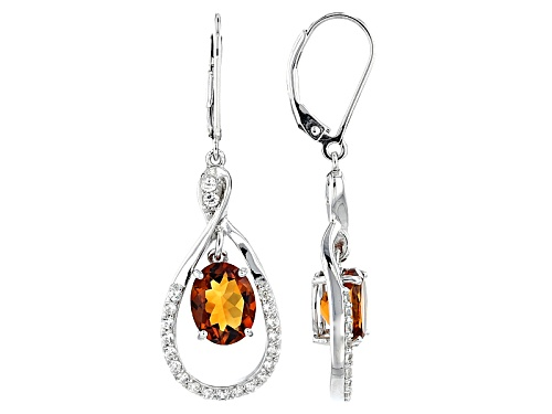 Photo of 2.76ctw Oval Madeira Citrine And .89ctw Round White Zircon Sterling Silver Dangle Earrings