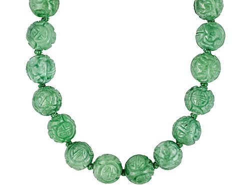 Photo of Pacific Style™ 11-12mm Carved Round Green Jadeite 14k Yellow Gold 18 Inch Necklace - Size 18