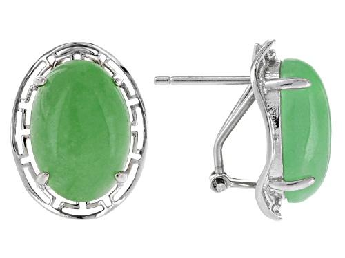Photo of Pacific Style™ 10x14mm Oval Green Jadeite Sterling Silver Greek Key Stud Earrings