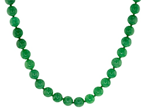 Photo of Pacific Style™ 10mm Round Green Jadeite Sterling Silver 20 Inch Necklace - Size 20