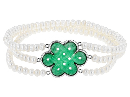 Photo of Pacific Style™4-5mm White Cultured Freshwater Pearl & 20x25mm Jadeite Silver Stretch Bracelet - Size 7.5