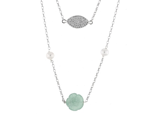 Photo of Pacific Style™ Jadeite, Cultured Freshwater Pearl And  Lab-Created Sapphire Silver Necklace - Size 15