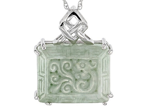 Photo of Pacific Style™ 21x16.5mm Carved Green Jadeite Sterling Silver Pendant With Chain