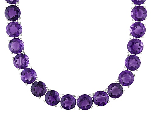 Photo of 88.11ctw Round African Amethyst Rhodium Over Sterling Silver Tennis Style Necklace - Size 18