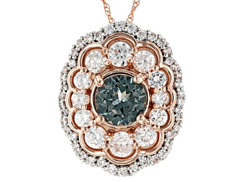 Photo of .90ct Round Platinum Color Spinel With 1.08ctw Round White Zircon 10k Rose Gold Pendant With Chain