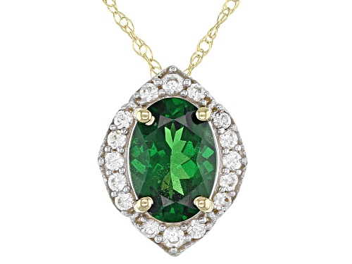 Photo of .77ct Oval Tsavorite Solitaire & .16ctw Round White Zircon 10k Yellow Gold Slide/Pendant With Chain