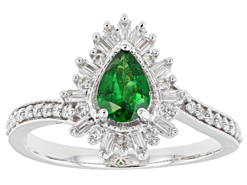 Photo of .68ct Pear Shape Tsavorite, .40ctw Baguette & Round White Zircon Rhodium Over 10k White Gold Ring - Size 7