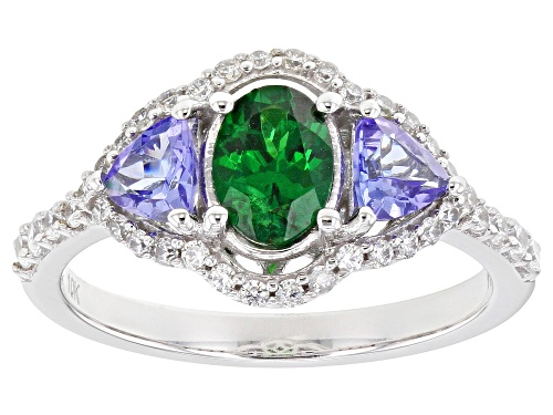 Photo of .78ct Tsavorite With .64ctw Tanzanite And .34ctw White Zircon Rhodium Over 10k White Gold Ring - Size 8
