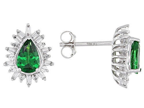 Photo of 1.23ctw Pear Shape Tsavorite, Baguette & Round White Zircon Rhodium Over 10k White Gold Earrings