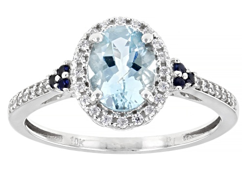 Photo of 1.00ct Oval Aquamarine, .05ctw Blue Sapphire & .18ctw White Zircon Rhodium Over 10k White Gold Ring - Size 8