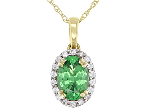 Photo of .60ct Oval Tsavorite Garnet With .09ctw Round White Zircon 10k Yellow Gold Pendant With Chain
