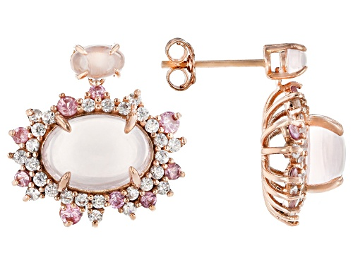 Photo of Oval Cabochon Rose Quartz With 1.14ctw Baby Pink Spinel And Zircon 10k Rose Gold Earrings