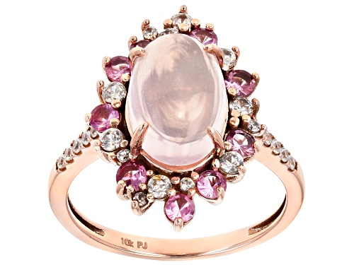 Photo of 12x8mm Oval Rose Quartz With 0.99ctw Baby Pink Spinel And White Zircon 10k Rose Gold Ring - Size 8