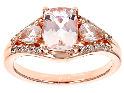 Photo of 1.54ctw Cushion & Pear Shape Morganite With .17ctw White Zircon 18k Rose Gold Over Silver Ring - Size 9