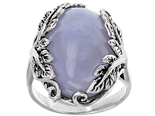 Photo of 19x14mm Oval Blue Chalcedony Sterling Silver Solitaire Ring - Size 6