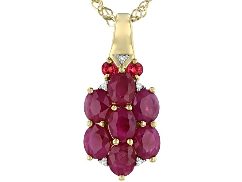 Photo of 1.49ctw Burmese Ruby, .09ctw Red Spinel & .01ctw Diamond Accent 18k Gold Over Silver Pendant W/Chain