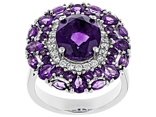 5.06ctw Mixed Shape African Amethyst With .37ctw Round White Zircon Rhodium Over Silver Ring - Size 7