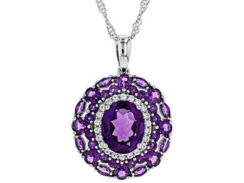 Photo of 4.98ctw Mixed Shape African Amethyst & .37ctw White Zircon Rhodium Over Silver Pendant W/Chain