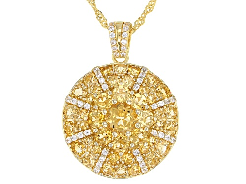 Photo of 3.79ctw Golden Citrine With .49ctw White Zircon 18k Gold Over Sterling Silver Pendant With Chain