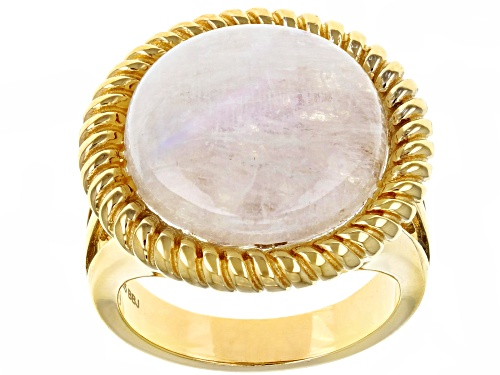 Photo of 16MM ROUND CABOCHON RAINBOW MOONSTONE SOLITAIRE 18K YELLOW GOLD OVER SILVER RING - Size 7