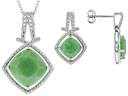 Photo of 8mm & 14mm Square Cushion Chrysoprase Rhodium Over Silver Earrings & Pendant w/Chain Set