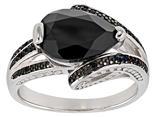 Photo of 3.15ct Pear Shape and .05ctw Round Black Spinel Rhodium Over Sterling Silver Ring - Size 6