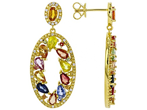 Photo of 6.17ctw Mixed Sapphire with .20ctw White Zircon 18k Yellow Gold Over Silver Dangle Earrings