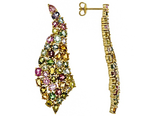 9.80ctw multi-color tourmaline 18k yellow gold over sterling silver earrings