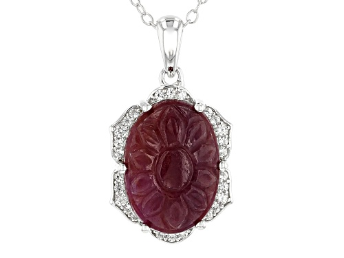 Photo of 14x10mm Oval Carved Indian Ruby and .12ctw White Zircon Rhodium Over Silver Pendant With Chain