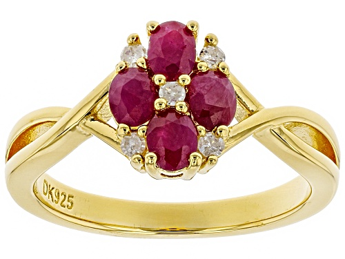 Photo of .85ctw Oval Burmese Ruby With Round White Diamond Accent 18k Yellow Gold Over Silver Ring - Size 9