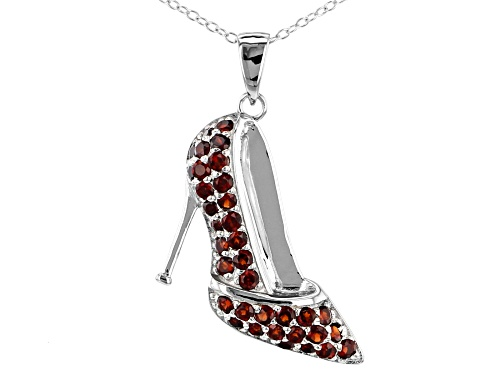 Photo of 1.75CTW ROUND VERMELHO GARNET(TM) SILVER HIGH HEEL SHOE PENDANT WITH CHAIN