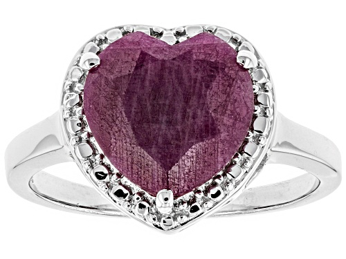 Photo of 2.95ct Heart Shape Indian Ruby Solitaire Rhodium Over Sterling Silver Ring - Size 10