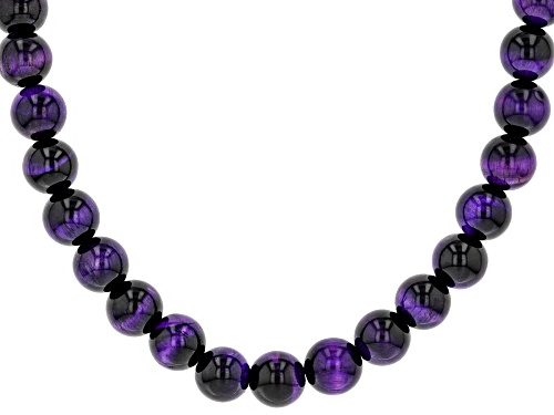 Photo of 10mm Round Purple Tiger's Eye Bead Strand Sterling Silver Necklace - Size 18