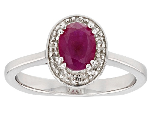 Photo of .80ct Burmese Ruby With .02ctw White Diamond Accent Rhodium Over Sterling Silver Ring - Size 10
