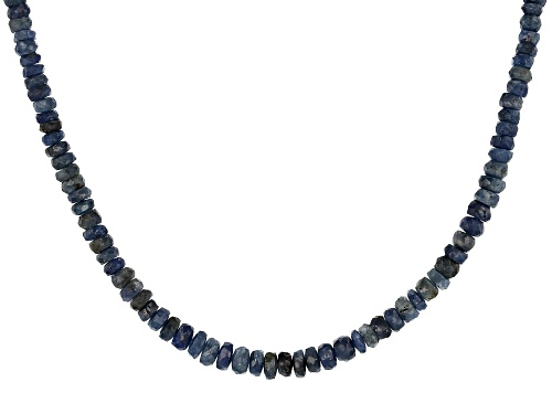 Photo of Graduated 3mm-4mm Faceted Cambodian Blue Sapphire Rondelle Bead Strand Sterling Necklace - Size 18