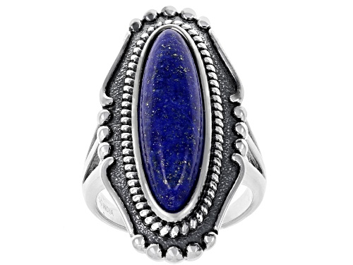 Photo of 25x7mm Elongated Oval Lapis Lazuli Sterling Silver Solitaire Ring - Size 6