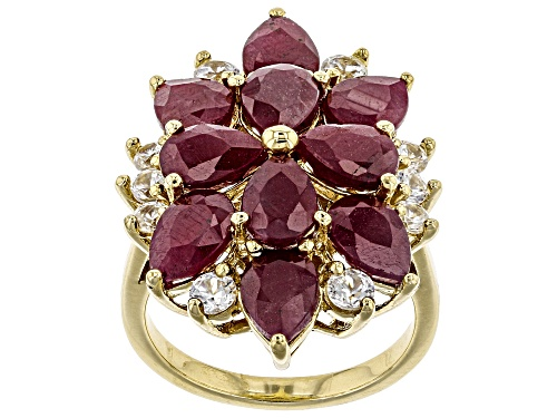 8.50ctw Pear Shape Indian Ruby and 1.08ctw White Zircon 18k Yellow Gold Over Silver Ring - Size 5