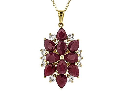 Photo of 8.50ctw Pear Shape Indian Ruby & 1.08ctw White Zircon 18k Yellow Gold Over Silver Pendant W/Chain