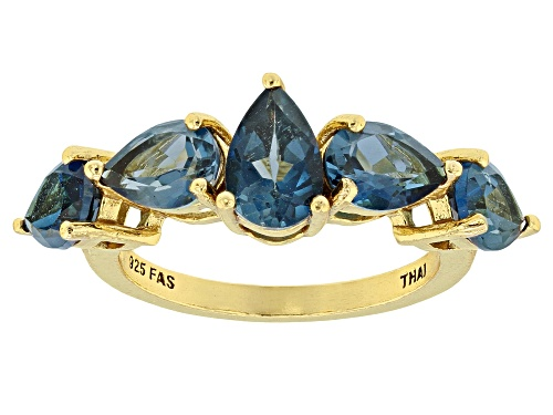 Photo of 3.74ctw Pear Shape London Blue Topaz 18k Yellow Gold Over Sterling Silver 5-stone Band Ring - Size 7