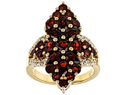Photo of 3.63ctw pear shape, oval & round Vermelho Garnet™ with .34ctw white zircon 18k gold over silver ring - Size 8