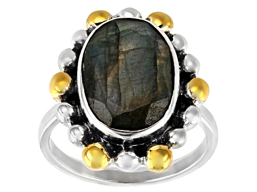 Photo of 5.50ct Oval Labradorite Sterling Silver Two-Tone Ring - Size 6