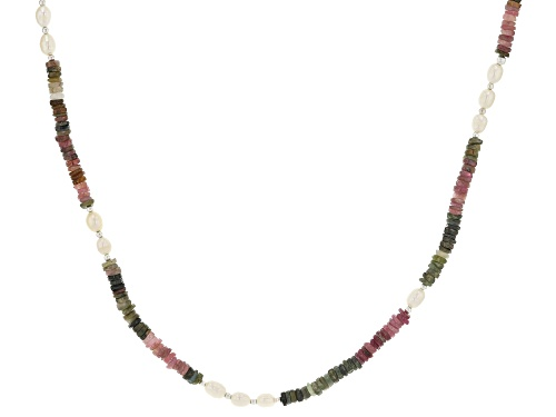 Photo of 4.5mm Watermelon Tourmaline & 8x5mm Cultured Freshwater Pearl Strand Sterling Silver Bead Necklace - Size 36
