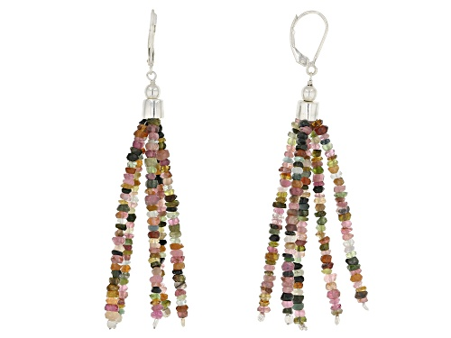 2.5mm-3mm Free-Form Watermelon Tourmaline Bead  Sterling Silver Tassel Earrings