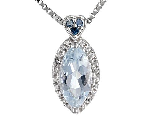 Photo of .79ct Aquamarine, .02ctw 3 Blue Diamond Accent & .09ctw Zircon Rhodium Over Silver Pendant W/Chain