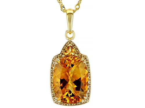 Photo of 7.39CTW CITRINE WITH .09CTW YELLOW DIAMOND ACCENT 18K YELLOW GOLD OVER SILVER PENDANT/CHAIN