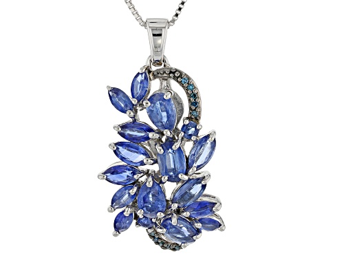 4.52CTW NEPALESE KYANITE & .03CTW ROUND BLUE DIAMOND ACCENT RHODIUM OVER SILVER PENDANT W/CHAIN