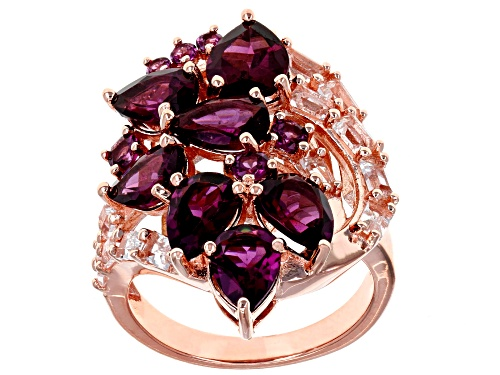 Photo of 4.88CTW MIXED SHAPE RASPBERRY COLOR RHODOLITE WITH .94CTW WHITE TOPAZ 18K ROSE GOLD OVER SILVER RING - Size 9
