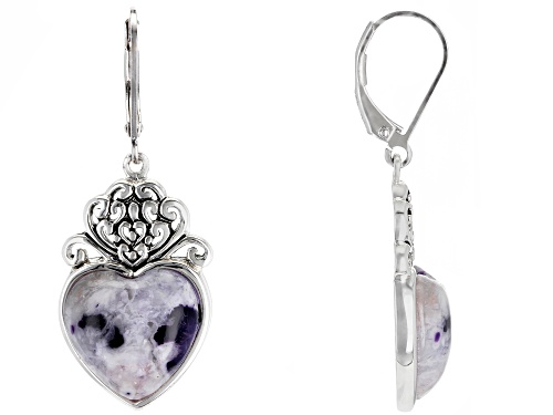 Photo of 14mm Heart Shape Morado Opal Rhodium Over Sterling Silver Dangle Earrings