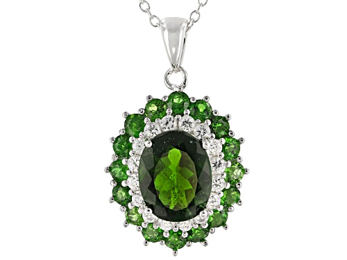 Photo of 3.87ctw Oval & Round Chrome Diopside With .64ctw White Zircon Rhodium Over Silver Pendant W/Chain